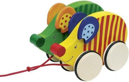 Goki Drewniana zabawka na sznurku, wyścigi myszy (54971)
