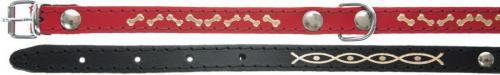 Dino Obroża skórzana ozdobna Dino 12mm/32cm czerwona