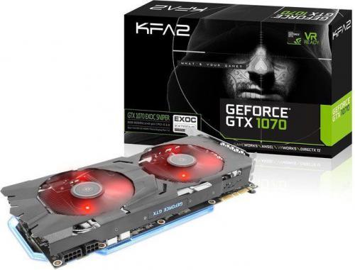 Karta graficzna KFA2 GeForce GTX1070 EXOC Sniper Black 8GB GDDR5X (256 Bit) DVI, HDMI, 3xDP, Retail (70NSH6DHM9EK)
