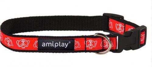 Ami Play Obroża regulowana  Joy M 25-40 [b] x 1,5cm Czerwona mordka