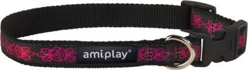 Ami Play Obroża regulowana  Joy S 20-35 [b] x 1cm Amarantowe kwiaty