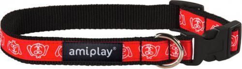 Ami Play Obroża regulowana  Joy S 20-35 [b] x 1cm Czerwona mordka