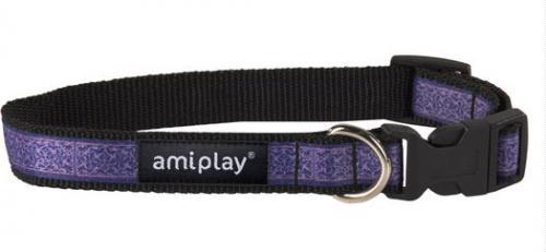 Ami Play Obroża regulowana  Joy S 20-35 [b] x 1cm Fioletowe wzory