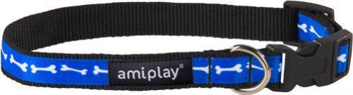 Ami Play Obroża regulowana  Joy S 20-35 [b] x 1cm Niebieskie kości