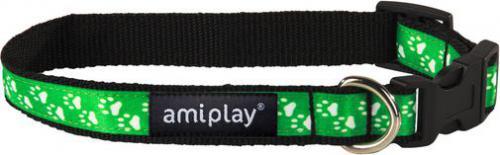 Ami Play Obroża regulowana  Joy S 20-35 [b] x 1cm Zielone łapki