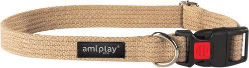 Ami Play Obroża regulowana z blokadą Cotton M 35-50 [b] x 2cm Beżowy