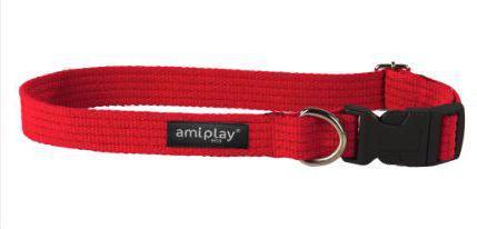 Ami Play Obroża regulowana Cotton S 28-40 [b] x 1,5cm Czerwony