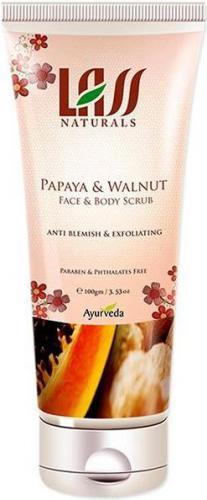 Lass Naturals Papaya & Walnut Face & Body Scrub - peeling do twarzy i ciała z papają i orzechem włoskim 100ml