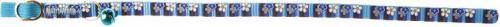 Zolux Obroża dla kota w paski i kwiatki 30 cm/10 mm kol. niebieski