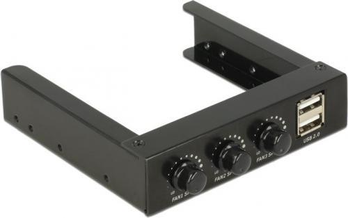 Delock Panel przedni 3.5″, 2x USB 2.0 + 3x kontroler obrotów wentylatorów (62714)