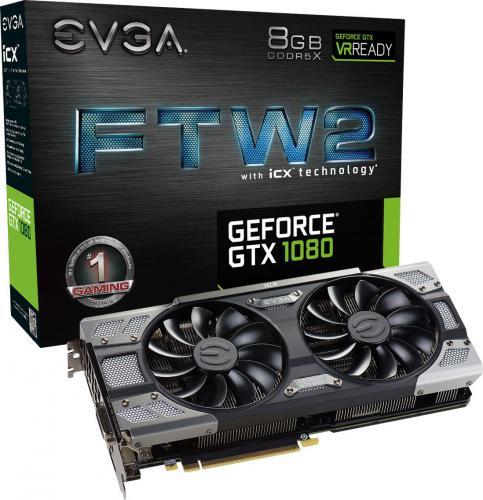 Karta graficzna EVGA GeForce GTX 1080 FTW 2 Gaming iCX 8GB GDDR5X (256 Bit) DVI-D, HDMI, 3xDP, BOX (08G-P4-6686-KR)