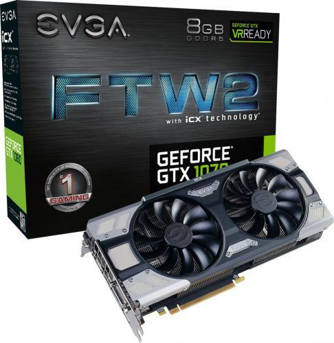 Karta graficzna EVGA GeForce GTX 1070 FTW 2 Gaming iCX 8GB GDDR5 (256 Bit) HDMI, DVI-D, 3xDP, BOX (08G-P4-6676-KR)