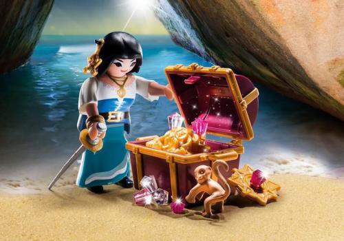 Playmobil Figurka Piratka ze skrzynią skarbów (9087)