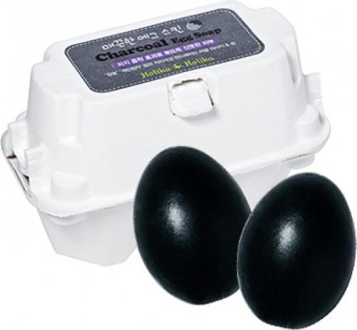 Holika Charcoal Egg Soap Mydełko z aktywnym węglem do mycia 50gx2