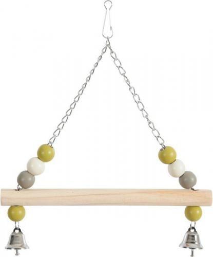 Zolux ZOLUX Huśtawka z drewnianą żerdką i dzwoneczkami na metalowym łańcuszku