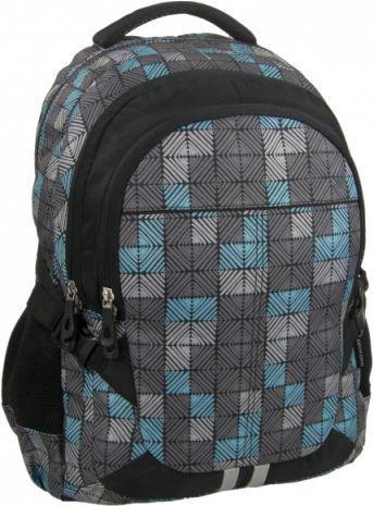 Derform Plecak młodzieżowy 18A 22 czarno-szaro-niebieski w kratkę (DERF.PLM18A22)
