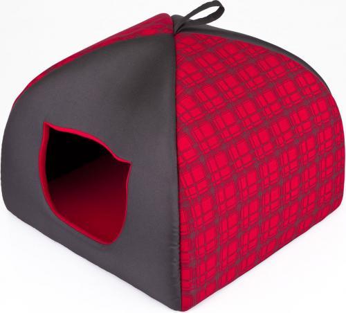 HOBBYDOG Budka Igloo - Czerwona w kratkę R1