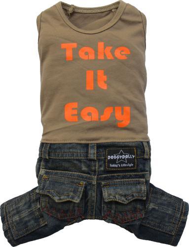 DoggyDolly Komplet jeans z t-shirtem, brązowy, XXS 13-15cm/26-28cm