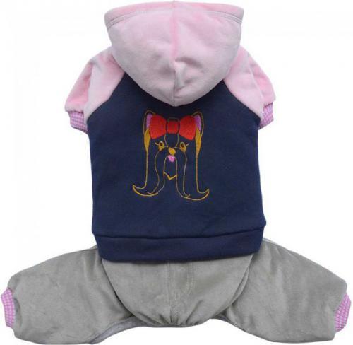 DoggyDolly Komplet sportowy z bluzą z kapturem, niebiesko/różowy,XXL 36-38cm/56-58cm