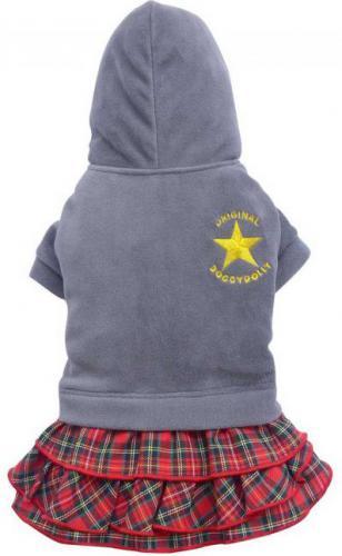 DoggyDolly Komplet spódniczka w krate z bluzą, szara, XS 18-20cm/31-33cm