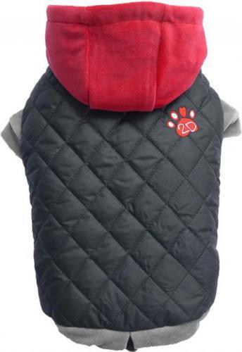 DoggyDolly Kurtka szara z czerwonym kapturem,XS 18-20cm/31-33cm