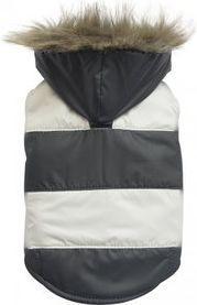 DoggyDolly Kurtka w paski z futerkowym kapturem, czarno/biała, XS 18-20cm/31-33cm