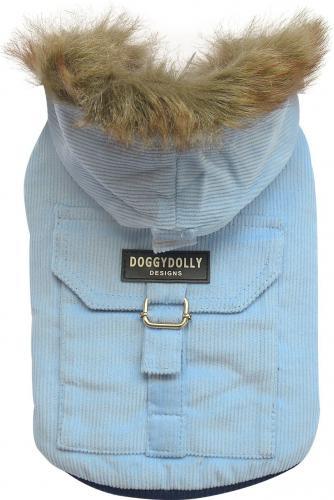 DoggyDolly Kurtka ze sztruksu z kapturem, jasnoniebieska,S 23-25cm/36-38cm