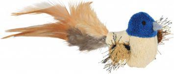 Trixie Zabawka ptaszek z piórami i kocimiętką 8 cm