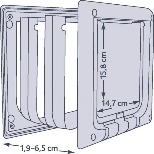 Trixie DRZWI WAHADŁOWE DLA KOTA Z TUNELEM 19-65mm (BRĄZOWE)
