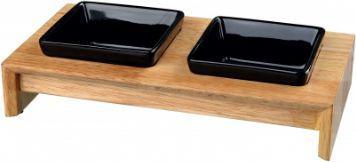 Trixie Zestaw misek , ceramiczno/drewniany, 2 × 0.2 l, 28 × 5 × 15 cm, miski: czarne