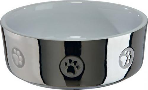 Trixie Miska ceramiczna z motywem 0.8l 15cm srebrno/biała