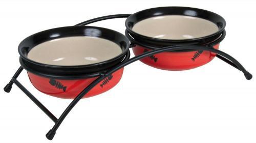 Trixie Zestaw misek ceramicznych na stojaku Eat on Feet 250 ml/śr.12.5 cm, czerwone