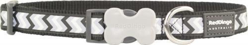 RedDingo Obroża dla psa ODBLASK  Czarna zygzaki 20mm/31-47cm