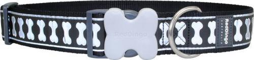 RedDingo Obroża dla psa ODBLASK  Czarna kostki 20mm/31-47cm