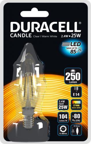Duracell LED B35, E14, 2.5W, 2700K, 250lm (C150N14B1)