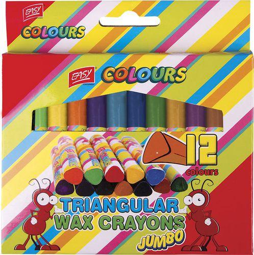 EASY Kredki świecowe 12 kolorów trójkątne Jumbo 836144 - WIKR-0992459