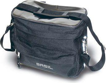 BASIL Torba na kierownicę z mapnikiem MALI HANDLEBAR BAG 8L, mocowanie na rzepy, wodoodporny poliester, czarna (BAS-16010)