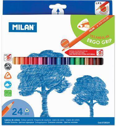 MILAN Kredki ołówkowe trójkątne 24 kolory (WIKR-040142)