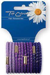 Top Choice Gumki do włosów  glitter 12szt fiolet (21312)
