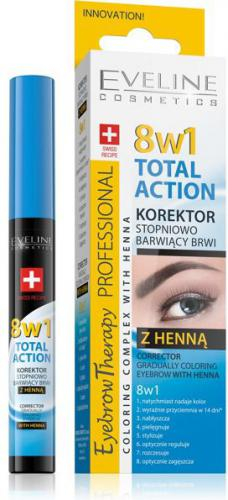 Eveline Eyebrow Professional Korektor do brwi z henną Total Action 8w1 10ml
