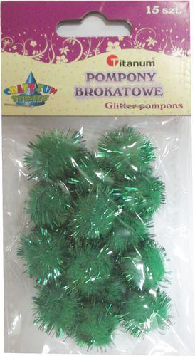 Titanum Pompon brokatowy zielony. 15 sztuk. 338536.