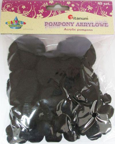 Titanum Zestaw dekoracyjny - Pompony akryl czarne 45 sztuk. 338517.  - WIKR-1019536