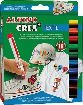Alpino Flamastry 10 kolorów CREA+ Textil (203613)