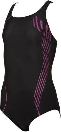 Arena Strój kąpielowy G WATERFALL JR ONE PIECE BLACK,ROSE_VIOLET r. 128 (8-9)