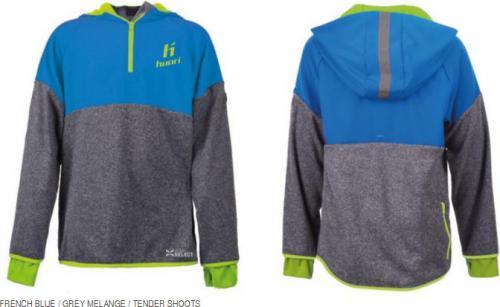 Huari Bluza juniorska sportowa PRATO JR, rozmiar 140, kolor niebiesko-szaro-zielony