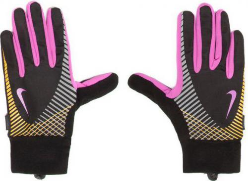 Nike Rękawiczki damskie Elite Storm Fit Tech Run Gloves Black/club Pink/laser Orange r. L