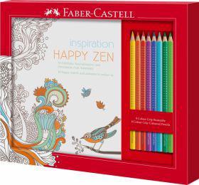 FABER CASTELL Kolorowanka Happy Zen + 8 kredek GRIP