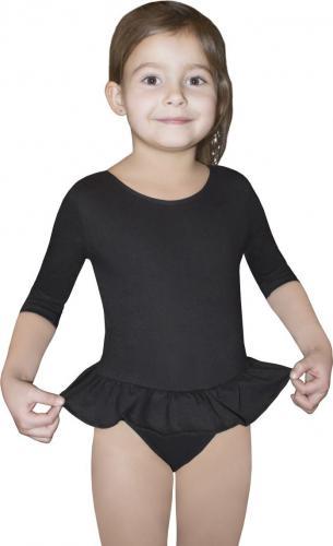 Gwinner Body dziewczęce BODYSUIT GIRLS ¾ SLEEVE LEOTARD WITH SHORT FRILL Czarne (110)