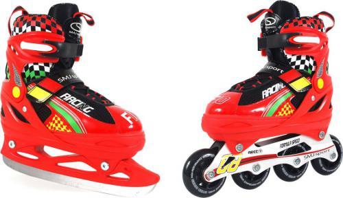 SMJ sport Rolki 2w1 i łyżwy regulowane roz 33-36 czerwone (ROL188 - 6650)