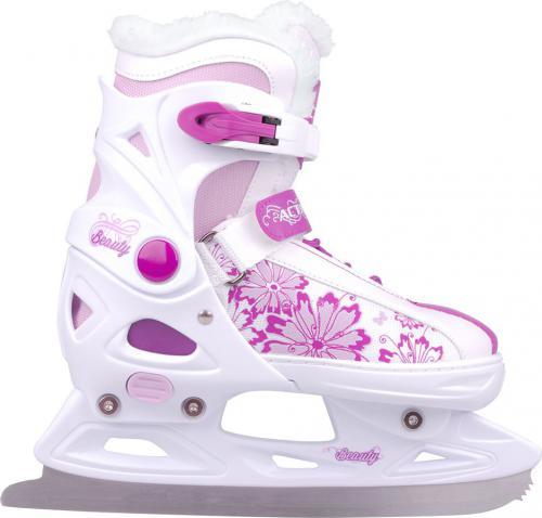 Action Dziecięce łyżwy regulowane  Maripo r. 33 - 36 biało-różowe - 13327-S